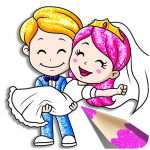 Glitter Bride and Groom Coloring Pages For Kids 1.2 MOD APK
